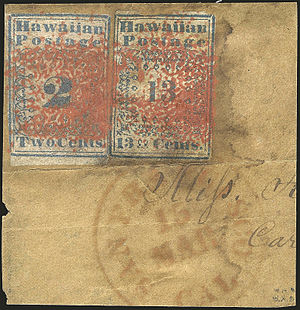 Henry J. Duveen - Image: Hawaiian Missionary 2c and 13c stamps on piece