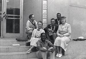 Helen C. White - White with 1954 creative writing class outside Memorial Library