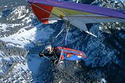 Hang gliders are based on the Rogallo wing, originally marketed as a mylar self-inflating kite named the flexikite.