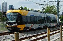 Yellow light rail near Cedar/Riverside