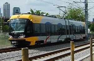 A Hiawatha Line train near Cedar-Riverside station in Minneapolis.