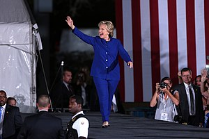 Pantsuit - Hillary Clinton wearing a pantsuit during a 2016 campaign rally.
