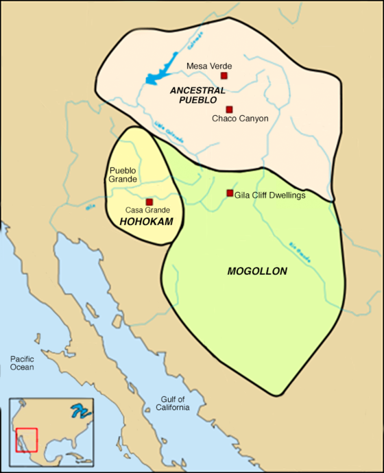 Map of Ancestral Pueblo and neighboring cultures Hohokam, Ancestral Pueblo, and Mogollon cultures circa 1350 CE.png