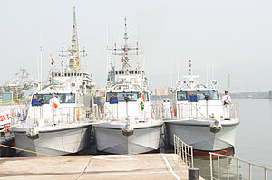 Immediate Support Vessel - Image: Hoisting of colours for the first time with Rashtriya Salute and singing of National Anthem to mark the commissioning ceremony of Immediate Support Vessels T 38, T 39 & T 40