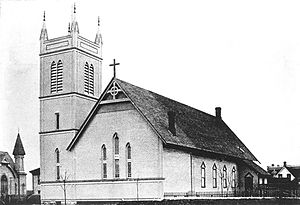 Holy Rosary Cathedral (Vancouver) - The original church circa 1889, featuring the newly built bell tower