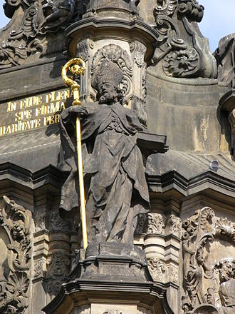 Saint Blaise - Statue of Saint Blaise at Holy Trinity Column in Olomouc.