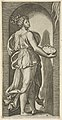 Hope personified as a woman standing in a niche facing right, holding a container of unleavened bread in both hands, from 'The Virtues' MET DP854381.jpg