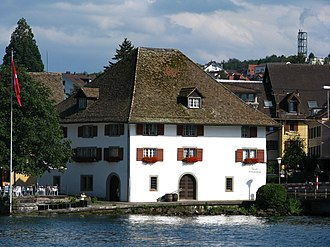 A Sust, a Middle Ages type of warehouse, in Horgen, Switzerland Horgen - Sust-Ortsmuseum - Zurichsee IMG 3829.JPG