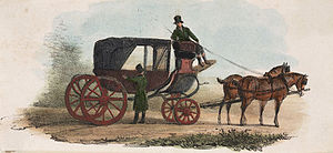 Coloured engraving of a carriage pulled by two...