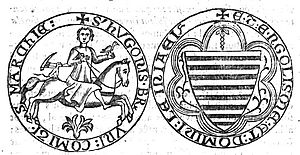 Hugh XIII of Lusignan - Seal of Hugh XIII de Lusignan used in 1281. He is shown in hunting dress, with a small terrier-like hunting dog behind  the croup of his saddle, with hunting horn hanging from his neck. This was the usual depiction in the seals of his ancestors and may indicate an early feudal tenure by grand serjeanty of hunting, as the same device was used by the Turberville family of Coity Castle in Glamorgan