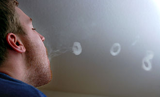 Smoke ring - Man blowing smoke rings