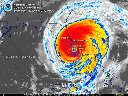 Colorized infrared satellite image of Hurricane Jeanne at the time of landfall in Florida Hurricane Jeanne (48637492452).jpg