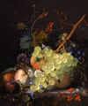 Huysum, Jan van - Still-life of grapes and a peach on a table-top.png