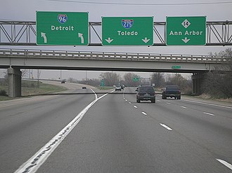 Interstate 275 (Michigan) - Image: I 275S at M14 1 Northville