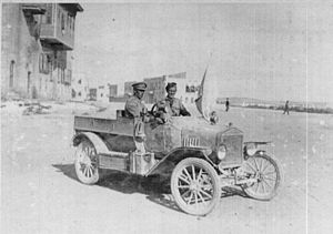 Battle of Aleppo (1918) - Captain Macintyre, commander of the 7th Light Car Patrol with the flag of truce used on 23 October