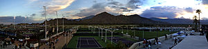 Indian Wells Tennis Garden - Evening view of the grounds during the 2008 Pacific Life Open.