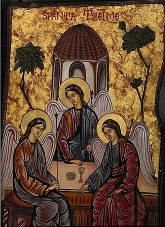 Holy Trinity Icon - Modern Romanian icon of the Old Testament Trinity closely follows Rublev's iconography
