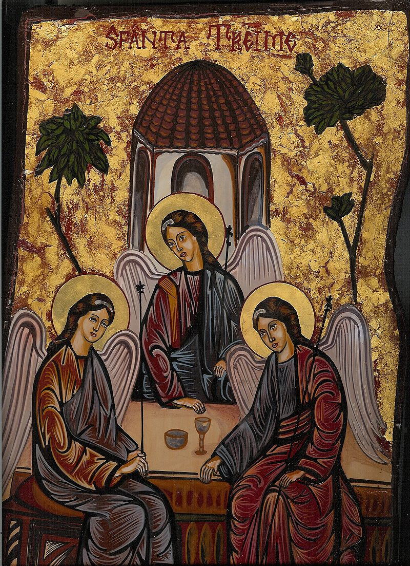 Modern Romanian icon of the Old Testament Trinity closely follows Rublev's iconography dans immagini sacre 800px-Icontrinity