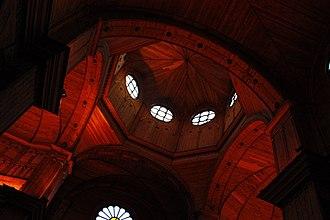 Chilotan architecture - Wooden interior of the Church of San Francisco in Castro.