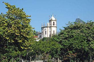 Glória, Rio de Janeiro - The Nossa Senhora da Glória do Outeiro (Our Lady of the Glory of the Hill) church, at Glória, with Christ the Redeemer statue in the background.