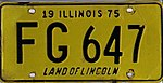 Illinois 1975 license plate - Number FG 647.jpg