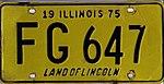 Illinois 1975 license plate - Number FG 647.jpg