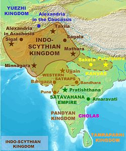Territories (full line) and expansion (dotted line) of the Indo-Scythians Kingdom at its greatest extent.