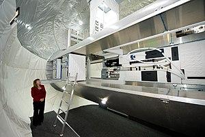 Bigelow Aerospace - NASA Deputy Administrator Lori Garver views the inside of a full-scale mockup of Bigelow Aerospace's Space Station Alpha.