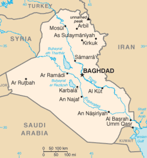 1 August 2007 Baghdad bombings - Location of Baghdad in Iraq