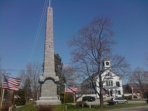 Acton, Massachusetts - Isaac Davis Monument and the Acton Town Hall