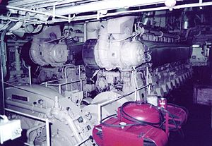 MV Discovery - Two of the four Fiat C4210SS medium speed geared diesel engines on board Island Princess