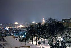 View of Beyoğlu on a snowy winter night