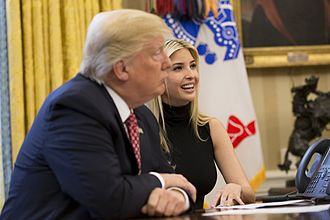 Comb over - President Donald Trump with his daughter Ivanka Trump.