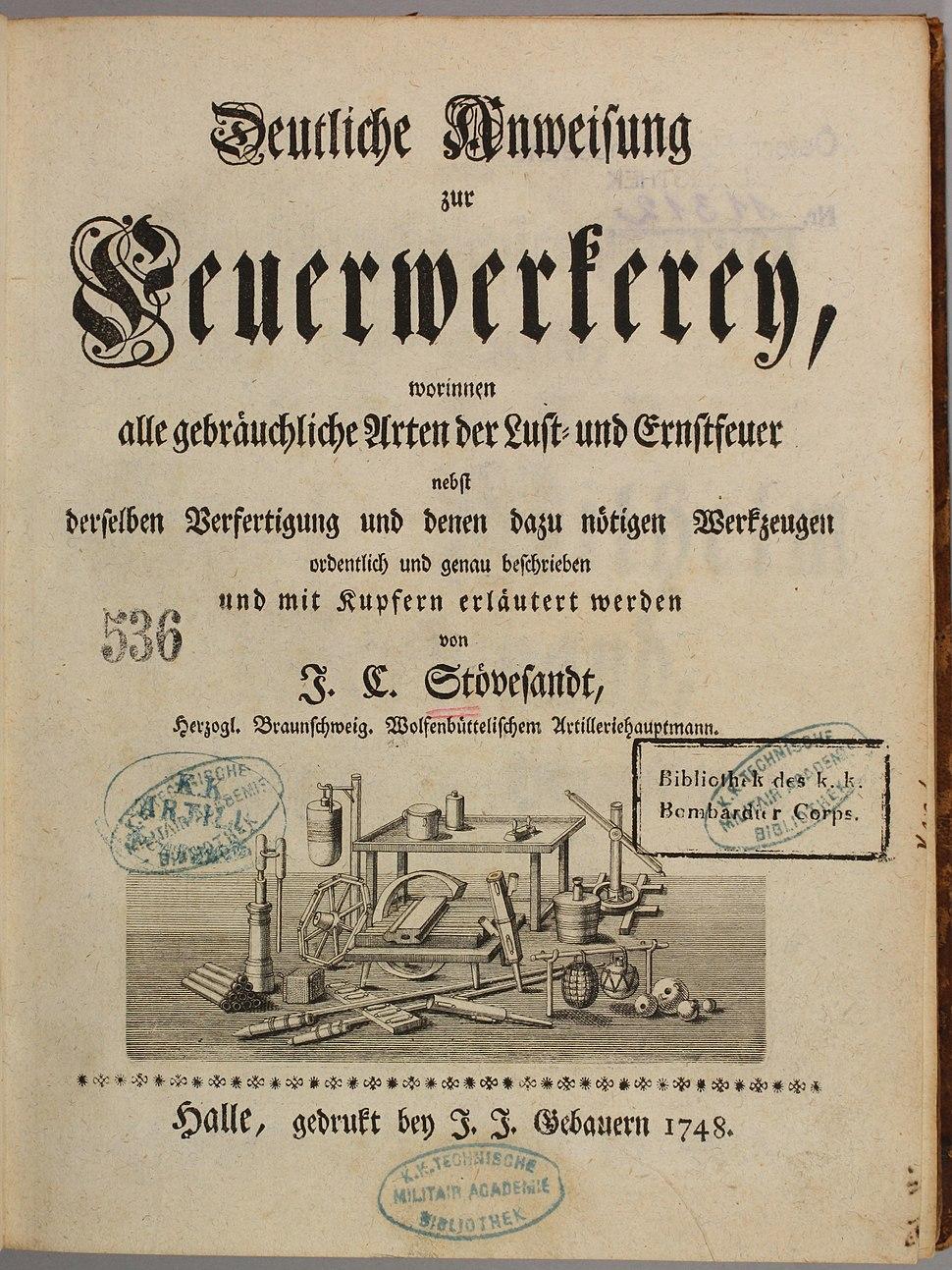 J. C. Stövesandt 1748 Deutliche Anweisung zur Feuerwerkerey
