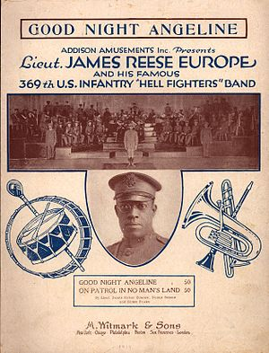 "1919 in jazz - 1919 sheet music cover for ""Good Night Angeline"" with photo of James Reese Europe and his famous 369th U.S. Infantry ""Hell Fighters"" Band"