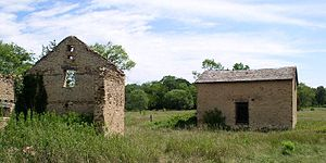 Minnesota Valley National Wildlife Refuge - Remains of the 1880 barn and a restored granary at Jabs Farm