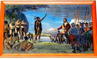 Hochelaga (village) - Painting by Adrien Hébert representing Jacques Cartier meeting the Iroquois.   The Iroquois chief raises his arm as a sign of welcome, while Cartier responds by raising his own slightly while keeping the other hand on his sword.
