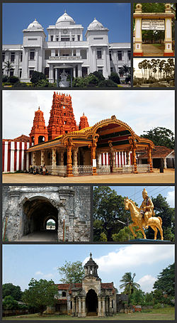 Clockwise from top: Jaffna Public Library, the Jaffna-Pannai-Kayts highway, Nallur Kandaswamy temple, Jaffna Fort, Sangiliyan Statue, Jaffna Palace ruins