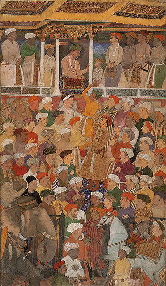 Tuzk-e-Jahangiri - Abul Hasan and Manohar, with Jahangir in Darbar, from the Jahangir-nama, c.1620. Gouache on paper.