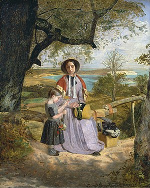 James Collinson - Mother and Child by a Stile, with Culver Cliff, Isle of Wight, in the Distance, 1849-50