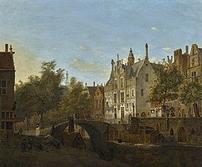 Delft, view of the Oude Delft with the Gemeenlandshuis