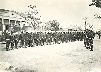 Imperial Japanese Army - A contingent of the Imperial Guard during an inspection in 1872.
