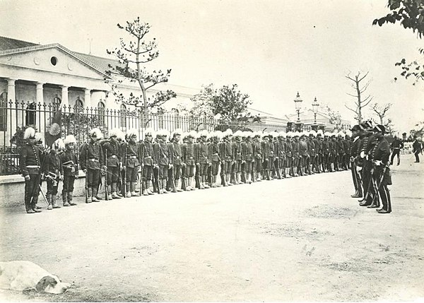 A contingent of the Imperial Guard during an inspection in 1872. Japanese first Royal Guards.jpg