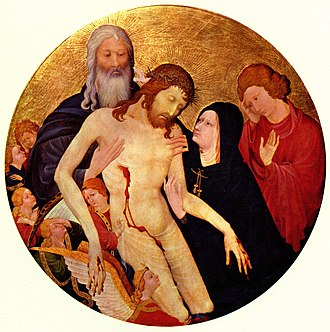 Jean Malouel - Pietà with the Holy Trinity by Jean Malouel, Louvre