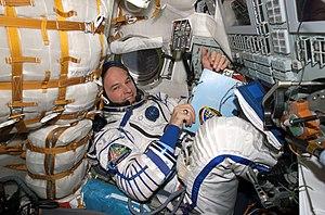 Soyuz TMA-8 - Jeffrey Williams inside the Soyuz TMA-8 spacecraft
