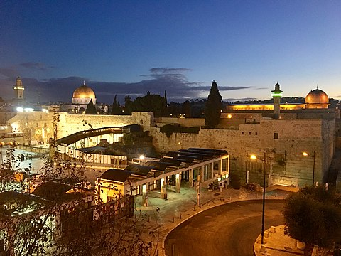 The Temple Mount in the Old City of Jerusalem in the West Bank, Shaam, with the Dome of the Rock (Qubbat As-Sakhrah) to the left, and Al-Aqsa Mosque to the right