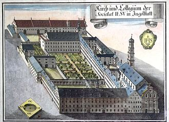 Jesuit College of Ingolstadt - Copper engraving of the college by Michael Wening