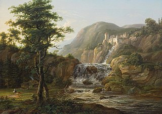 Mountain landscape with waterfall, castle and traveler on horseback in front of a hut