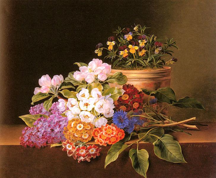 File:Johan Laurentz Jensen - Æbleblomster lilla violaer kornblomster.jpg