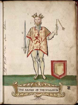John Balliol - King John, his crown and sceptre symbolically broken and with an empty coat of arms as depicted in the 1562 Forman Armorial, produced for Mary, Queen of Scots